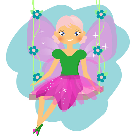 Beautiful fairy character sitting on swing. Winged elf princess in pink skirt. Vector illustration in cartoon style for kids and babies