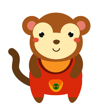 Cute monkey in red jumpsuit. Cartoon kawaii animal character. Vector illustration for kids and babies fashion. Illustration