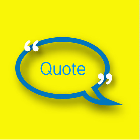 Blue Speech bubble template in realistic style on bright yellow background. Paper Frame with commas for your text Illustration