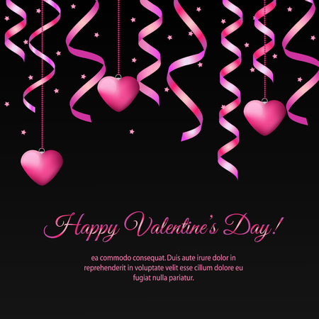 St Valentines day banner with hanging pink streamers and hearts. Design template for party invitation, romantic events, speed dating, social media, promotion
