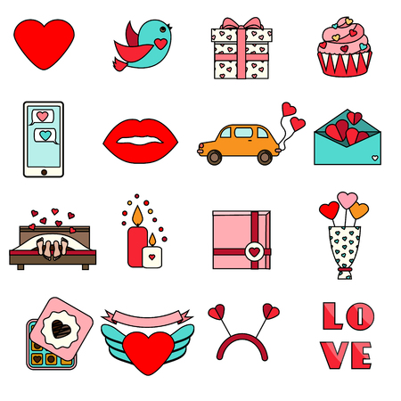 wedding couple: St Valentines day icons. Set of colorful romantic, love holidays symbols. Cupcake, hearts, envelope, candles and other traditional design elements, stickers for weddings, invitations and etc