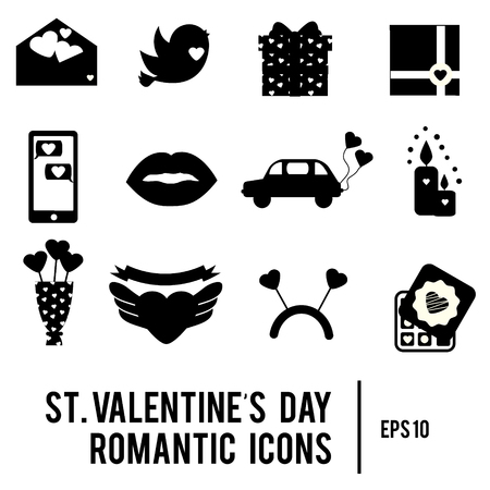 black family: St Valentines day icons. Set of romantic, love holidays symbols. Printable black silhouettes. Hearts, envelope, candles and other traditional design elements, stickers for weddings, invitations Illustration