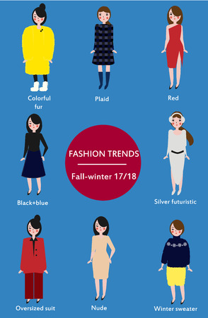 Fashion trends fall winter season 2017-2018. Infographic.  poster with hand drawn style fashionable women in trendy clothes
