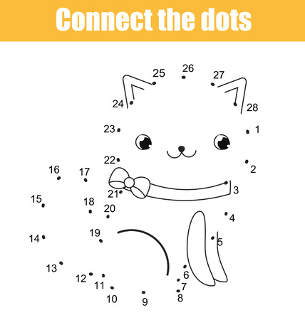 Connect the dots children educational drawing game. Dot to dot by numbers game for kids. Animals theme. Printable worksheet activity with cute cat