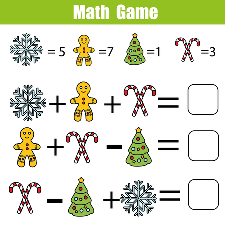 new addition: Mathematics educational game for children. Mathematical counting equations worksheet for kids