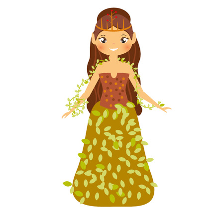 Beautiful fairy in autumn dress decorated with leaves. Girl with elf ears. Forest princess character. Vector illustration for kids and babies Illustration