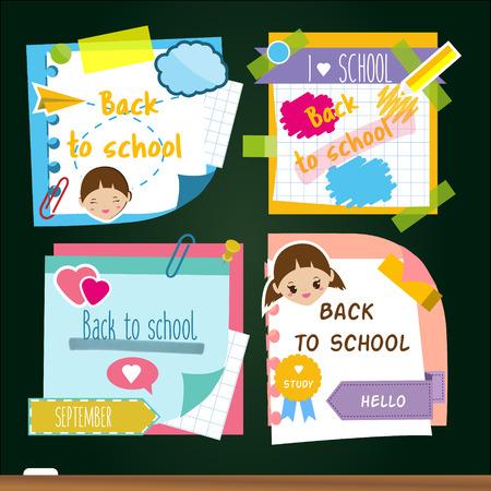 De volta aos adesivos escolares. Modelo de desenho de notas adesivas de memória, símbolos de estudo. Para anúncios de marketing e anúncio de alunos Foto de archivo - 84274473