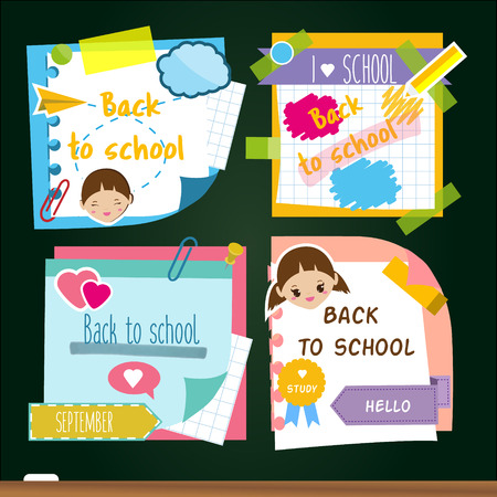 Back to school stickers. Design template of memory sticky notes, study symbols. For marketing advertisements and pupil announcement Illustration