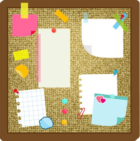 paper sheets sticky notes stickers hanging on cork board vector stock