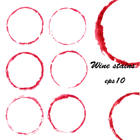 Watercolor wine stains. Wine glass circles mark isolated on white background. Menu design elements Stok Fotoğraf - 84274488