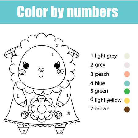 Página Para Colorear Con Pájaro. Juego De Niños De Color Por Números ...