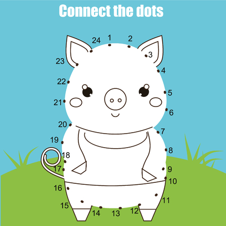 Connect the dots children educational drawing game. Dot to dot by numbers for kids. Animals theme. Printable worksheet activity with cute pig.