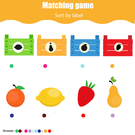 Educational children game. Matching game worksheet for kids. Match by shape. Sorting objects for toddlers.