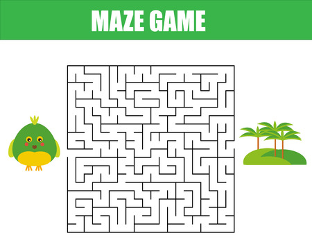 Maze children game: help the parrot go through the labyrinth. Kids activity sheet. Illustration