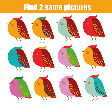 Find the same pictures children educational game. Find equal pairs of birds kids activity. Animals theme.