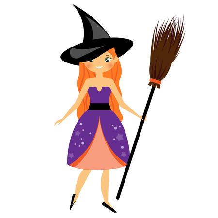 Cute Halloween witch. Beautiful girl in Halloween Costume dress holding broom. Vector illustration.