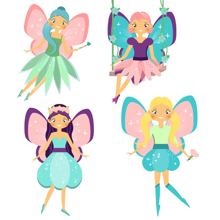 elf queen: Fairy set. Beautiful girl in fyling fairy costumes. Winged elf princesses in cartoon style. Vector illustration for kids and babies.