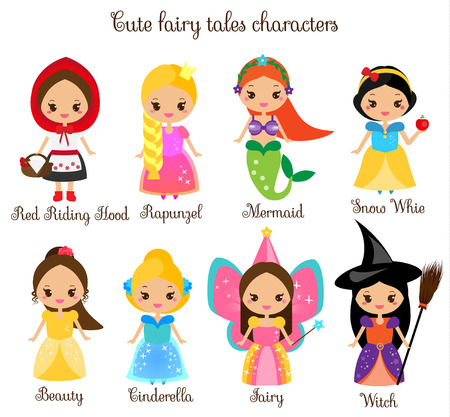 Cute kawaii fairy tales characters. Snow white, red riding hood, Rapunzel, Cinderella. Princess in beautiful dresses. Cartoon style. Children stickers , kids illustration, toddlers fashion prints.