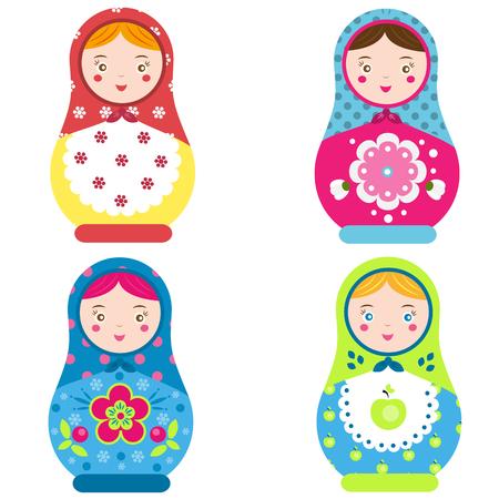 Matroschka-Set. Traditionelle russische Verschachtelungspuppen. Lächelnde Matreshka Ikone. Vektor-Illustration, ClipArt. Standard-Bild - 84712158