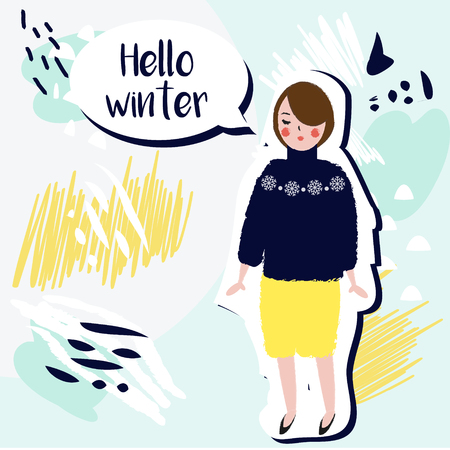 Hello winter creative card. Fashionable Girl in winter sweater on artistic background. hand drawn style. Seasonal vector illustration.