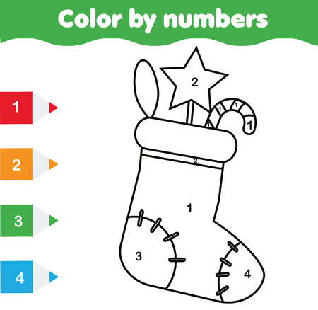 Coloring page with Christmas sock. Color by numbers educational children game, drawing kids activity. New Year holidays theme Illustration