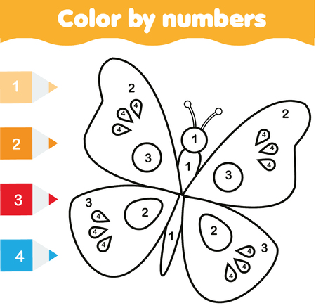 Coloring page with butterfly. Color by numbers educational children game, drawing kids activity, printable sheet Illustration
