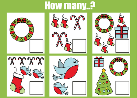 mathematics: Counting educational children game, kids activity worksheet. How many objects task. Christmas, winter holidays theme. Learning mathematics, numbers, addition theme