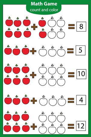 Math educational game for children. Counting equations. Addition worksheet