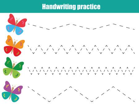 Handwriting practice sheet. Educational children game, printable worksheet for kids. Writing training printable worksheet Vectores