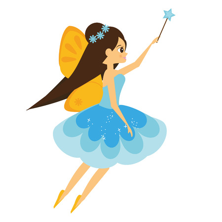 Beautiful flying fairy character with yellow wings. Elf princess with magic wand. Vector illustration in cartoon style for kids and babies