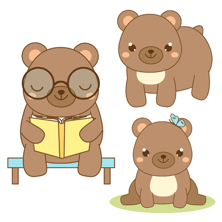 butterfly isolated: Cute bear. Kawaii style. Brown bear sitting and reading book. Cartoon animal character for kids, toddlers and babies fashion. Vector design elements Illustration