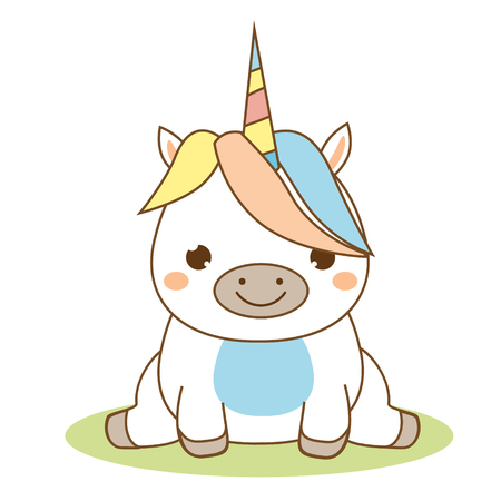 Cute unicorn sitting. Kawaii style. Cartoon magic animal character for kids, toddlers and babies fashion. Isolated vector design elements Иллюстрация
