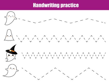 필기 연습 시트. 교육용 어린이 게임, 어린이를위한 인쇄용 워크 시트. 교육 인쇄용 워크 시트 작성. 할로윈 테마 활동 일러스트