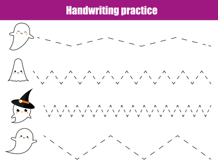 Handwriting practice sheet. Educational children game, printable worksheet for kids. Writing training printable worksheet. Halloween theme activity