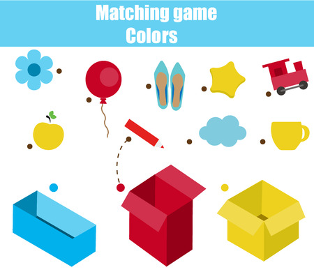 Educational children game. Matching game worksheet for kids. Match by color. Sorting objects for toddlers. Learning colors Illusztráció