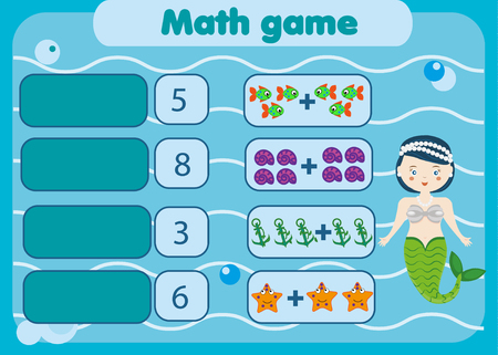 addition: Math educational game for children. Matching mathematics activity. Counting game for kids. Illustration