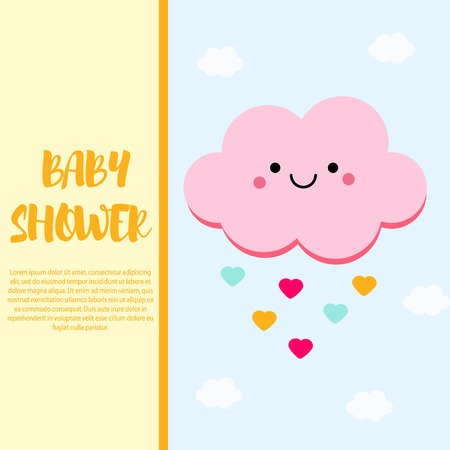 baby announcement card: Baby shower card design template with cute pink cloud character. Invitation, party banner Illustration