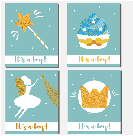 baby announcement card: Baby shower card design template. Its a boy cards with gold glittering elements cupcakes, magic wand, fairy, crown.