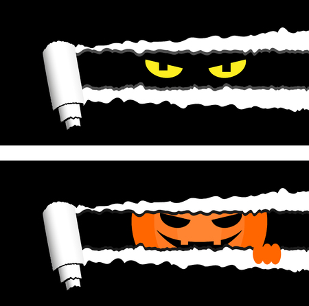 Horizontal halloween banners with torn rolled paper stripes and spooky eyes looking out. Holiday greetings elements Illustration
