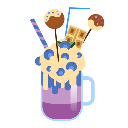 Monster shake with cake pops and blueberries. Giant milkshake. Vector icon Ilustração