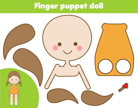DIY children educational creative game. Make a finger puppet doll with scissors and glue. Paprecut activity. Creative printable tutorial for kids