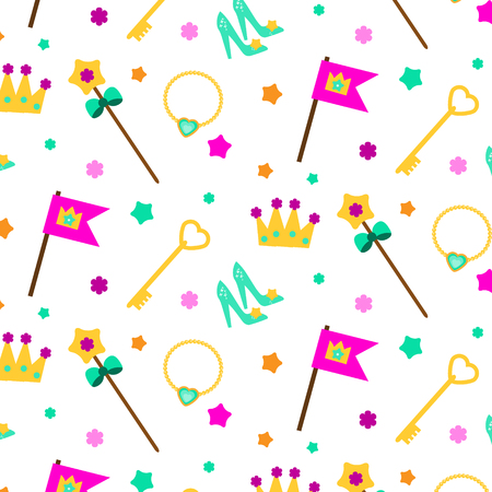 Princess party pattern. background with girl elements crown, shoes, wand. Vector illustration for party invitations, gift wrapping, scrapbook papers and other Illustration