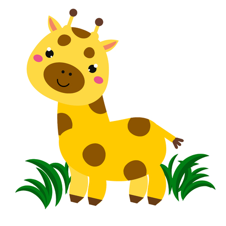 Cute cartoon smiling giraffe. Animal character for babies and children design, prints Illustration