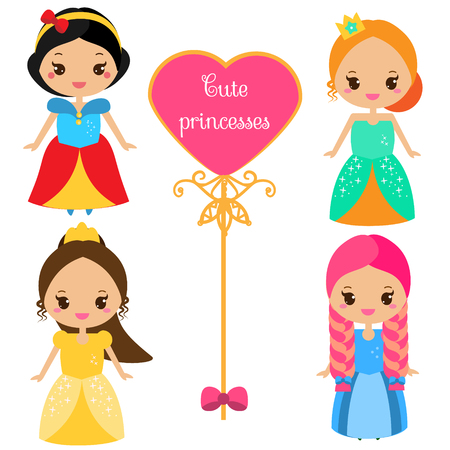 chibi: Cute princesses in colorful dresses in kawaii style. Girls in queen costumes. Vector collection of cartoon female characters. Illustration