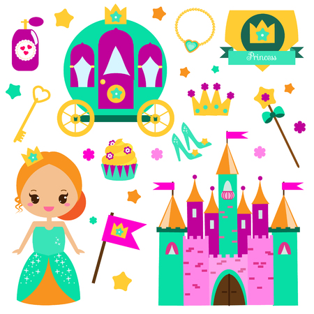 kids birthday party: Children princess party design elements. Stickers, clip art for girls. Carriage, castle, crown and other fairy symbols for invitations, scrapbook, blogging, kids mobile games Illustration