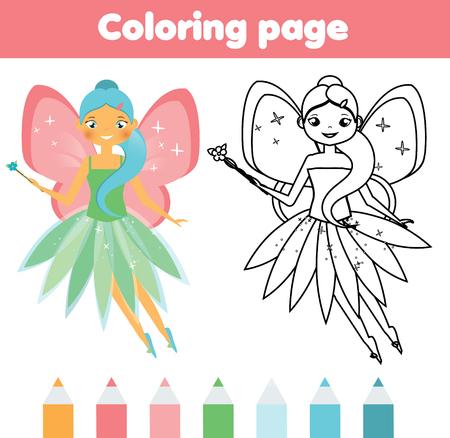 かわいい空飛ぶ妖精の着色のページ。カラー画像。教育子供のゲーム、子供の活動、印刷用シートを描画