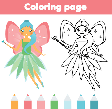Kleurplaat met schattige vliegende fee. Kleur de foto. Educatief kindergame, tekening van kinderactiviteit, afdrukbare pagina