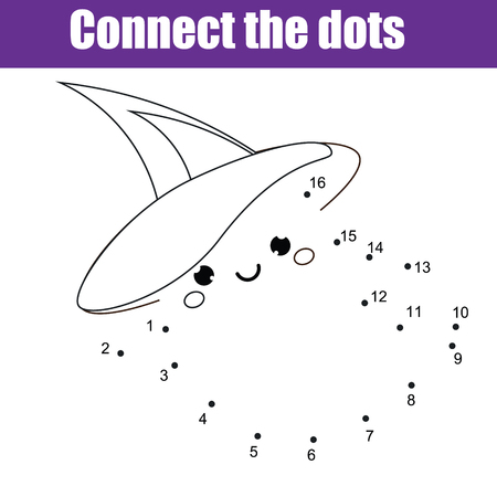 도트 어린이 교육 그리기 게임을 연결합니다. 아이들을위한 숫자 게임으로 점을 찍으십시오. 귀여운 할로윈 유령이있는 유아를위한 인쇄 가능한 워크  일러스트