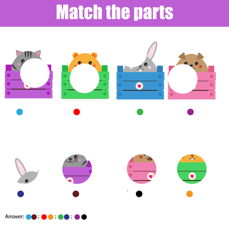 Matching children educational game. Match animals parts. Activity for pre shool years kids and toddlers