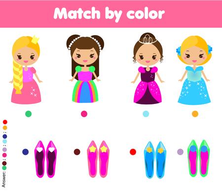 Matching children educational game. Match by color. Activity for pre shool years kids and toddlers. help princess find shoes
